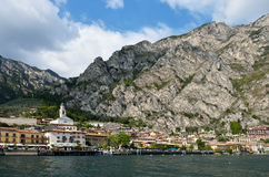 View on the city of Limone located on Lake Garda, Italy Royalty Free Stock Images