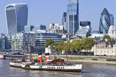 View of City of London famous landmarks by Thames and WAVERLEY ship Royalty Free Stock Photos