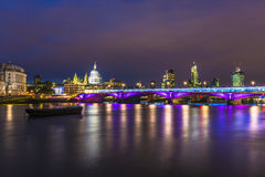 View of City of London at night. Including St. Paul's Cathedral, Millenium Bridge, Unilever House, Leadenhall also known as Cheesegrater and tower 22 Royalty Free Stock Photos