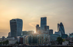 View of City of London at sunset. Royalty Free Stock Photography