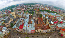 View of the city Lviv. Birds eye view. Panorama Stock Images