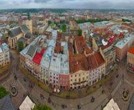 View of the city Lviv. Birds eye view. Panorama Stock Photos