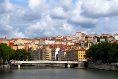 The river Rhone passing in Lyon stock images