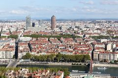 View of the city of Lyon, France. View of the city of Lyon from the hill of Notre Dame de Fourviere, France Stock Photo