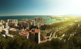View of the city of Malaga. With the Bullring of La Malagueta and the Port Royalty Free Stock Photo