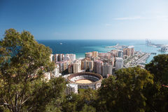 View of the city of Malaga. With the Bullring of La Malagueta and the Port Royalty Free Stock Photography
