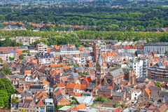 View of the city of Malines (Mechelen. ) from height of bird's flight, Belgium Royalty Free Stock Image