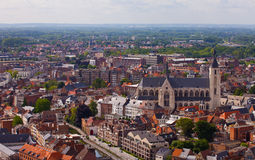View of the city of Malines (Mechelen). From height of bird's flight, Belgium Royalty Free Stock Photography