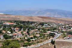 View of the city Metula from the Golan Heights in Israel Royalty Free Stock Images