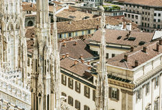 View of the city Milan from the Duomo cathedral, Italy, religiou Stock Photo