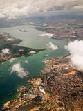 View of the city of Mombasa from above. With a group of clouds Stock Photos
