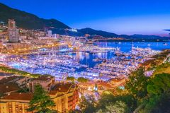 View of the city of Monaco. French Riviera. View of the city of Monaco on French Riviera after sunset stock photos