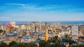 View of the city of Montreal in Canada, the evening before sunset stock images