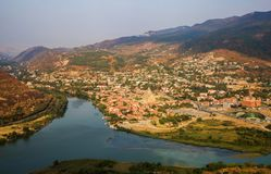 The confluence of the Kura and Aragvi Rivers near the city of Mt. View of the city of Mtskheta and the confluence of the Kura and Aragvi Rivers Royalty Free Stock Photography