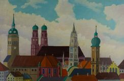 View of the city of Munich with the church towers royalty free illustration
