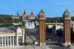 View of city from National Palace BARCELONA, SPAIN Stock Images