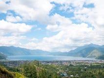 View of City Near Lake in Lake Lut Tawar Takengon, Aceh, Indonesia. View of City near the Lake. Located in Lake Lut Tawar Takengon, Aceh, Indonesia stock photo