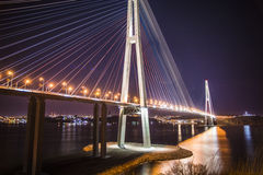 View the city at night, the bridge across the Bay at night, Royalty Free Stock Photos