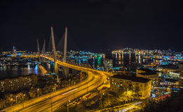 View the city at night, the bridge across the Bay at night, full of bright lights. Stock Image