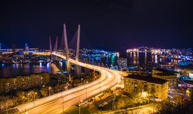 View the city at night, the bridge across the Bay at night, full of bright lights. Royalty Free Stock Photography