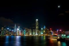 The view of city at night in Hongkong Royalty Free Stock Image