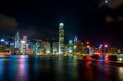 The view of city at night in Hongkong Royalty Free Stock Images