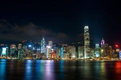 The view of city at night in Hongkong Stock Photo