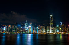 The view of city at night in Hongkong Stock Photos