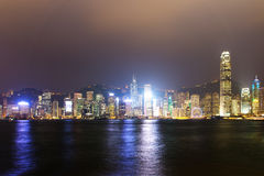 View the city at night from Kowloon. Hong Kong. Stock Photography