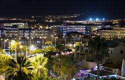 View of the city at night with palm trees Stock Photo