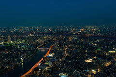 The view of city night from the top level.  Royalty Free Stock Photography