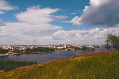 View of the city of Nizhny Tagil from the top of the mountain. Sverdlovsk region, Russian Federation Stock Photos