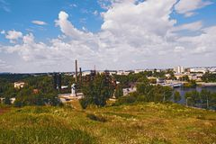 View of the city of Nizhny Tagil from the top of the mountain. Sverdlovsk region, Russian Federation Royalty Free Stock Photo