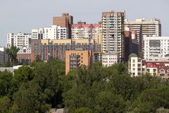 The view of the city of Novosibirsk. View of the city of Novosibirsk cloudless summer day. New modern buildings stock photos