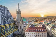 View of the city from the observation deck of St. Stephen`s Cathedral in Vienna, Austria. On a sunny day royalty free stock photos