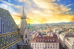 View of the city from the observation deck of St. Stephen`s Cathedral in Vienna, Austria. On a sunny day royalty free stock photo