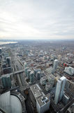 View of the city from the observation tower. View on the downtown of Toronto City, Ontario province, Canada. The photo was taken in November 2013 royalty free stock images