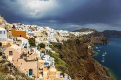 View of the city of Oia on the island of Santorini Stock Photos