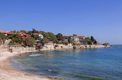 View of city Old Nessebar and sea Stock Photography