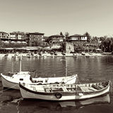 View of city Old Nessebar and sea, Bulgaria Royalty Free Stock Photography