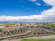 View of city over the wall at Carcassone Castle - France Royalty Free Stock Image