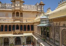 City Palace Udaipur. View of City Palace complex in Udaipur, India. It`s nearly 400 years old built by Mewar dynasty stock photography