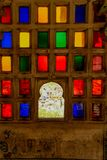 Coloured glass window in City Palace. View of City Palace complex in Udaipur, India. It`s nearly 400 years old built by Mewar dynasty royalty free stock photo