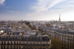 View of the city of Paris with Eiffel tower in background Royalty Free Stock Photos