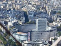 View of the city of Paris from the height of the Eiffel Tower stock photography