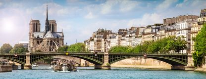 City of Paris from the Seine. View of the city of Paris from the Seine Stock Image