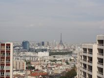 View of the city of Paris and the surroundings. Far off, we can perceive the Eiffel Tower. The Eiffel Tower is of face. Shooting in the day without character Stock Photography