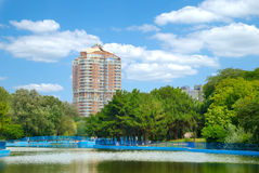 View of city park. View of beautiful city park with lake Stock Images