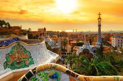 View of the city from Park Guell in Barcelona. stock photos