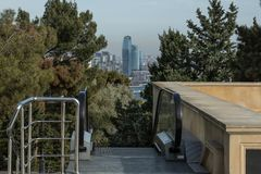 View of the city in the park on top of the escalator stock photos